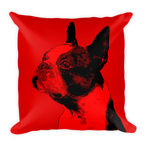 Boston Terrier Duotone Comic Red Decorative Pillow - Front View