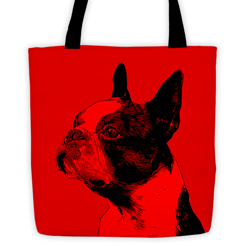 Boston Terrier Duotone Comic Red All-Over Tote Bag