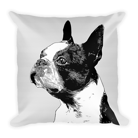Boston Terrier Duotone Comic Decorative Pillow - Front View