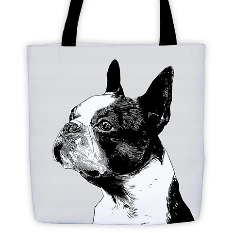 Boston Terrier Duotone Comic All-Over Tote Bag