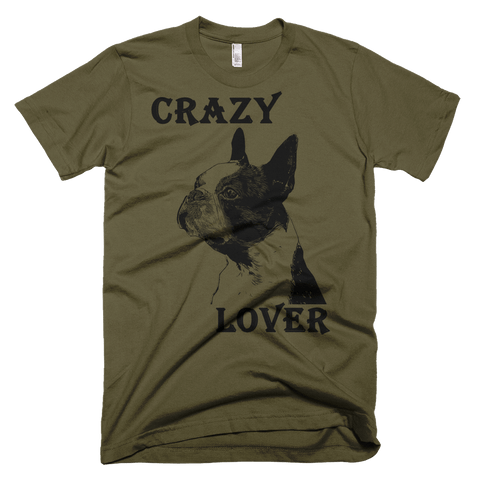 Boston Terrier Crazy Lover American Apparel Fine Jersey Short Sleeve Men - Army
