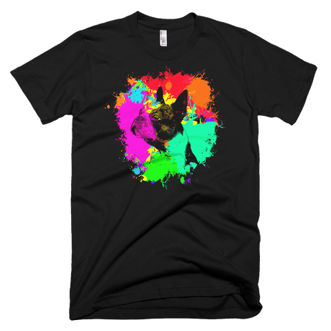 Boston Terrier - Colorful Paint - American Apparel Fine Jersey Short Sleeve Men T-Shirt - Black