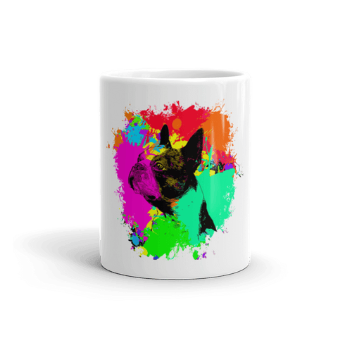 Boston Terrier Colorful Splash Paint 11oz Mug - Front View