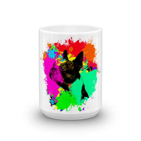 Boston Terrier Colorful Splash Paint 15oz Mug - Front View