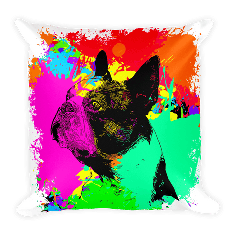 Boston Terrier Colorful Splash Paint Decorative Pillow