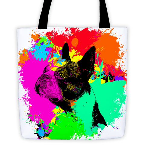 Boston Terrier Colorful Splash Paint All-Over Tote Bag