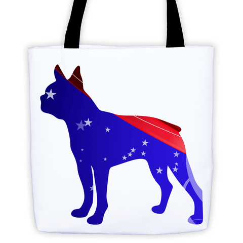 Boston Terrier Patriotic Shape All-Over Tote Bag