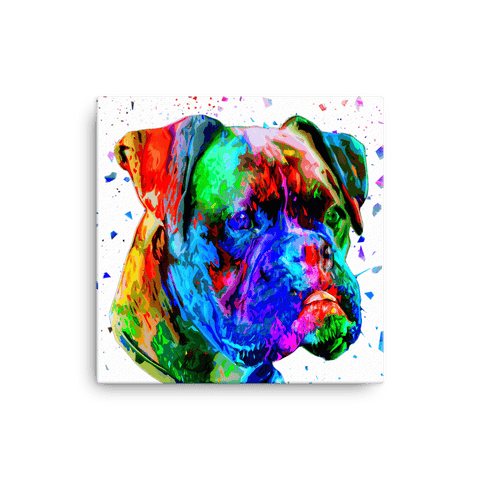 Boxer Colorful Low Poly Canvas 12x12