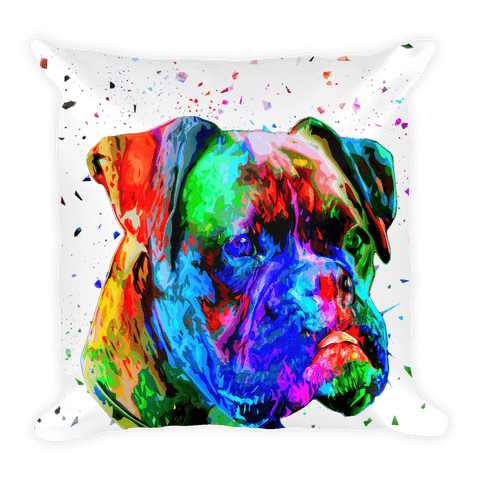 Boxer Colorful Poly Art Decorative Pillow - Front View