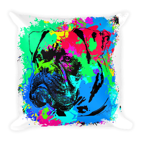 Boxer Colorful Splash Paint Decorative Pillow
