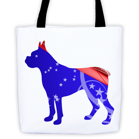 Boxer Patriotic Shape All-Over Tote Bag