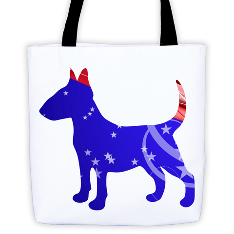 Bull Terrier Patriotic Shape All-Over Tote Bag