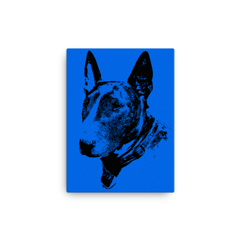 Bull Terrier Duotone Comic Canvas - Blue