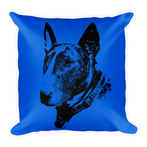 Bull Terrier Duotone Comic Blue Decorative Pillow - Front View