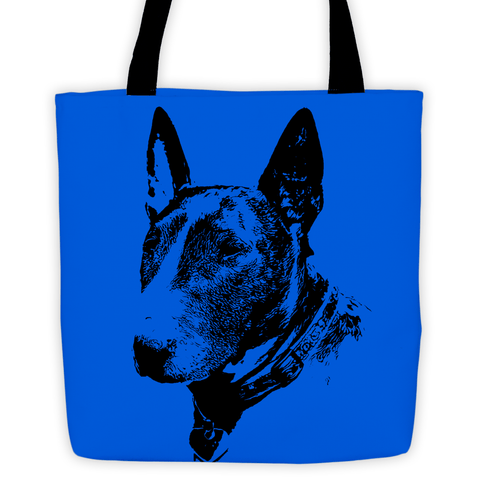 Bull Terrier Duotone Comic Blue All-Over Tote Bag