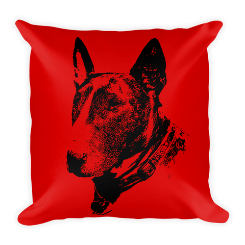 Bull Terrier Duotone Comic Red Decorative Pillow - Front View