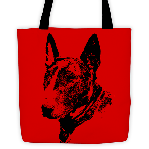Bull Terrier Duotone Comic Red All-Over Tote Bag