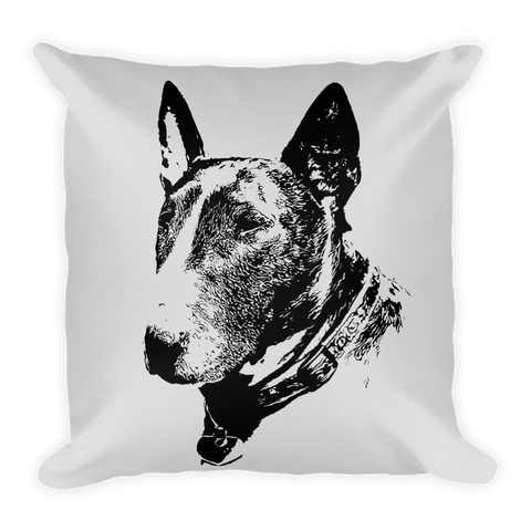 Bull Terrier Duotone Comic White Decorative Pillow - Front View