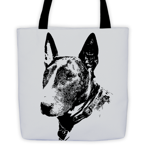 Bull Terrier Duotone Comic White All-Over Tote Bag