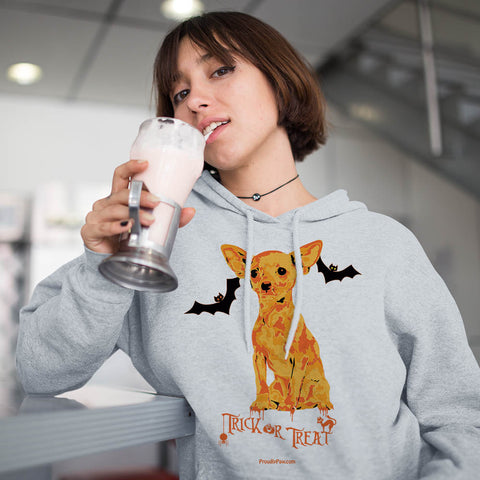 Chihuahua Halloween Trick or Treat Hoodie Sweatshirt Mockup Woman Drinking Milkshake