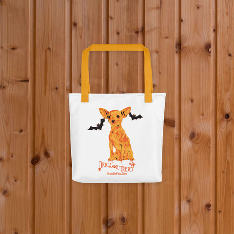 Chihuahua Halloween Trick Or Treat Fashion Tote Bag Yellow Handles On Wood Floor Preview