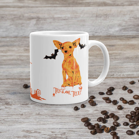 Chihuahua Halloween Trick Or Treat 11oz Ceramic Mug Coffee Scene Preview