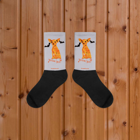 Chihuahua Halloween Trick Or Treat Black Foot Socks On Wood Floor