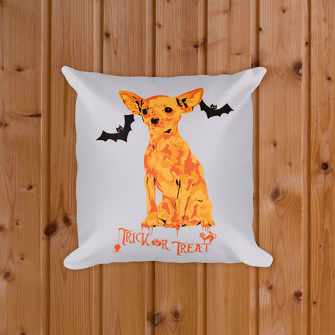 Chihuahua Halloween Trick Or Treat Home Decor Square Pillow On Wood Floor