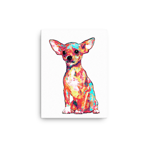 Chihuahua Colorful Painting Canvas 12x16