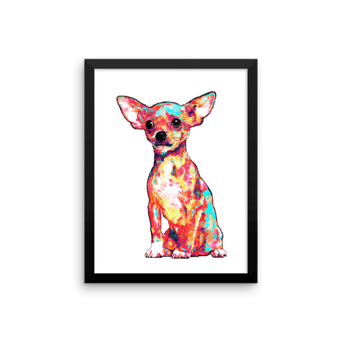 Chihuahua Colorful Painting Framed Poster 12x16