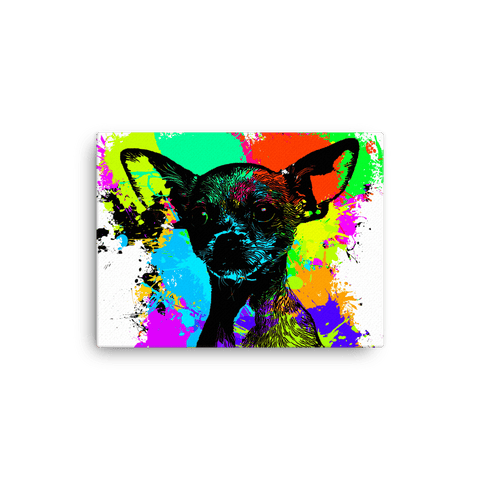 Chihuahua Colorful Splash Paint Canvas 16x12