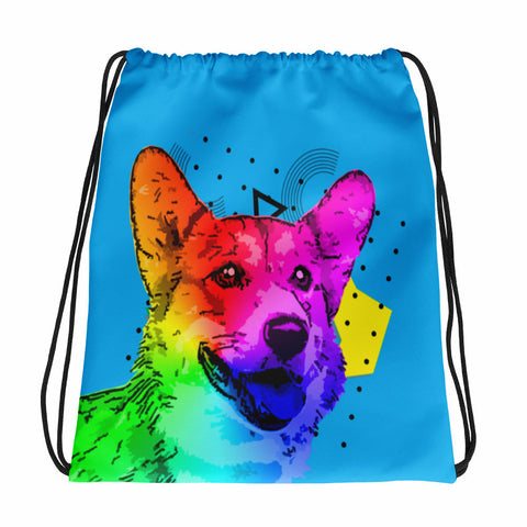 Corgi Blue Modern Art Drawstring Bag Fashion Accessory for Dog Lovers - Front View