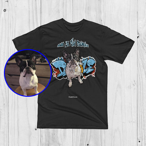Custom Graffiti Paint Art Men Unisex T-Shirt of your Dog - ProudlyPaw Mascot Nono Jr The Frenchie Preview