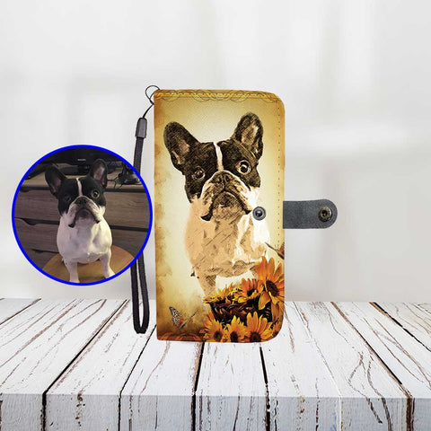 Custom Paint Art Sunflowers Butterflies Scene Print Your Dog On Wallet Phone Case ProudlyPaw Mascot Nono Jr WoodFloor Mockup