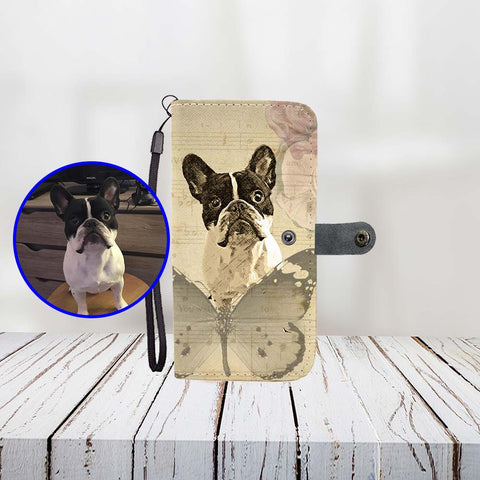 Custom Paint Art Music Butterfly Love Print Your Dog On Wallet Phone Case ProudlyPaw Mascot Nono WoodFloor Mockup