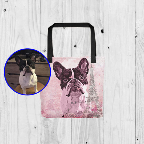 Custom Paint Art Paris Pink Je T'Aime Scenery Print Your Dog On Tote Bag ProudlyPaw Mascot Nono Jr WoodFloor Mockup