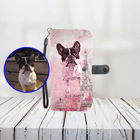 Custom Paint Art Paris Pink Je T'Aime Love Print Your Dog On Wallet Phone Case ProudlyPaw Mascot Nono WoodFloor Mockup