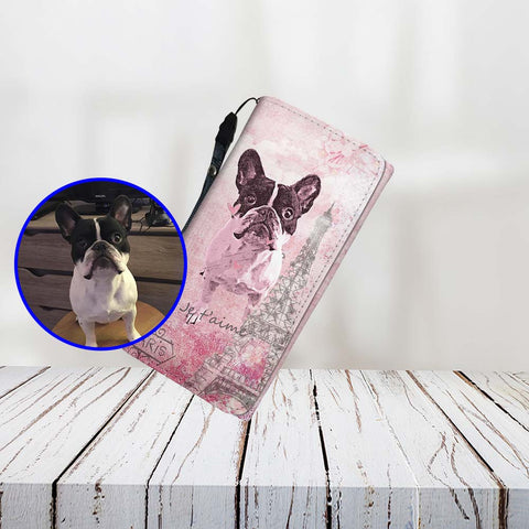 Custom Paint Art Paris Pink Je T'Aime Print Your Dog On Women Wallet ProudlyPaw Mascot Nono WoodFloor Mockup