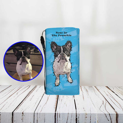 Custom Paint Art Print Your Dog On Women's Wallet ProudlyPaw Mascot NonoJr Blue Wood Floor Mockup
