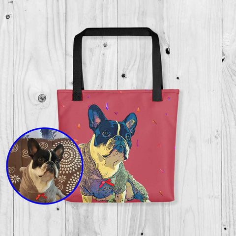 French Bulldog Custom Pop Art Tote Bag Red With Black Handles