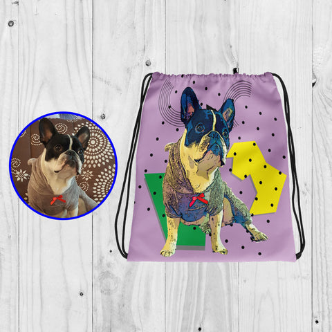 Brand New Drawstring Bag With Personalized Pop Art Design of your Dog