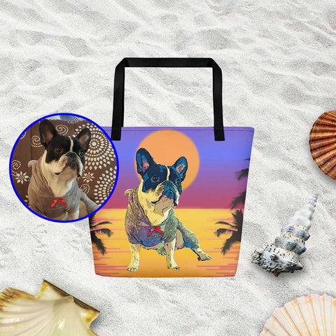 Custom Pop Art of your Dog Nono Example Beach Bag Tote Bag Sunset Black Handles Product ProudlyPaw Image