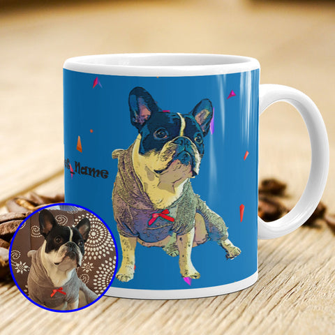 Custom PopArt Ceramic Mug With You Pet Name Royal Blue Coffee Scene Mockup