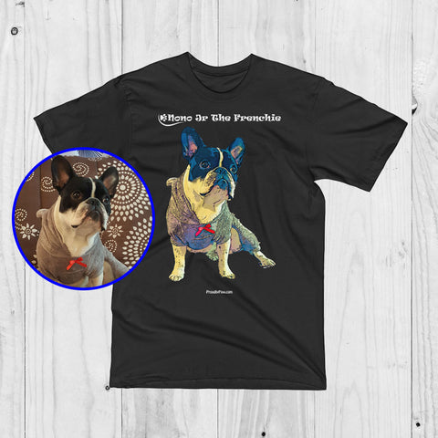 Custom Pop Art Men Unisex T-Shirt of your Dog - ProudlyPaw Mascot Nono Jr The Frenchie Preview