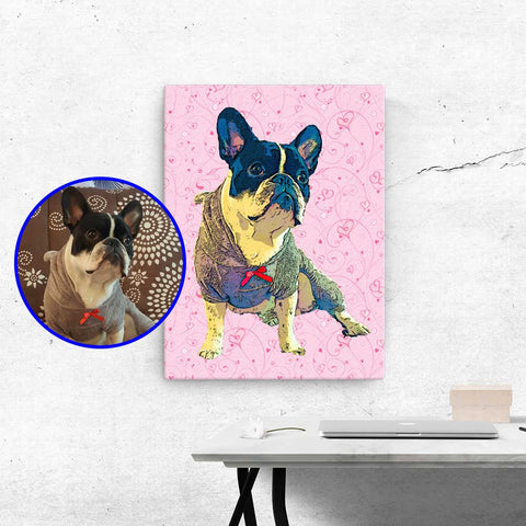 Custom Wall Art Canvas of your Pet - Valentine's Day Edition - Home Decor for Dog Lovers