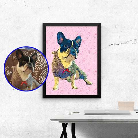 Custom Wall Art Framed Poster of your Pet - Valentine's Day Edition - Home Decor for Dog Lovers