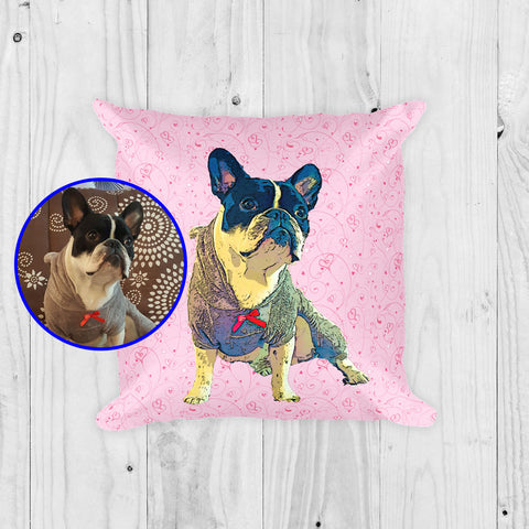 Custom Square Pillow of your Pet - Valentine's Day Edition - Home Decor for Dog Lovers
