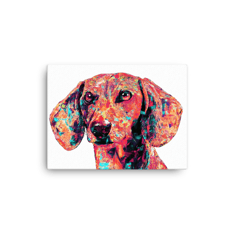 Dachshund Colorful Painting Canvas 12x16 Horizontal