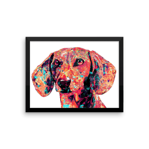 Dachshund Colorful Painting Framed Poster 12x16 Horizontal
