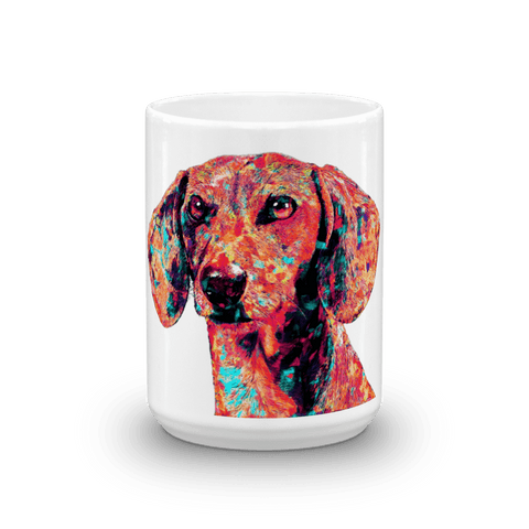 Dachshund Colorful Painting 15oz Mug - Front View